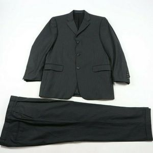 Burberry London Pinstriped Wool 2 Piece Suit Black